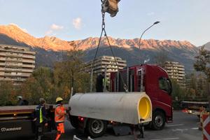 Anlieferung der Perfect Pipe Rohre nach Innsbruck.