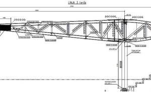 Die Grafik zeigt einen Hauptträger mit dem beschriebenen Ausleger zur Lastabtragung des Daches. Der Ausleger wird durch Niederhalter mit Zug-Druck-Lagern außen beweglich gelagert.