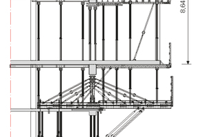 Die Peri-Lösung für die auskragend herzustellenden Gebäudesegmente basierte auf Variokit-Tragwerkseinheiten, einer Druckabstützung mithilfe von Multiprop-Alu-Stützen über alle Stockwerke hinweg, sowie auf einer integrierten Zugabspannung im Gebäudeinnern in die drei darunterliegenden Geschossdecken.<br />