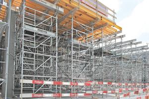 Die flexiblen und sicheren Meva-Traggerüste MT 60 können für Höhen von bis zu 18,66 Meter eingesetzt werden.