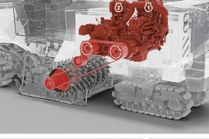 Power: Für maximale Fräsleistung treiben Motor 1 und Motor 2 synchron die Fräswalze an. Beide Motoren liefern nun hohes Drehmoment mit maximaler Leistung. Power: Für maximale Fräsleistung treiben Motor 1 und Motor 2 synchron die Fräswalze an. Beide Motoren liefern nun hohes Drehmoment mit maximaler Leistung.