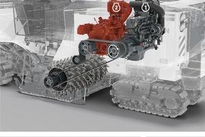 Nebenbetrieb: Im Nebenbetrieb ist kraftstoffsparend nur Motor 2 bei geringer Drehzahl für den Hydraulikantrieb aktiv. <br />