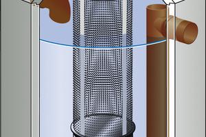 Filterschacht für Regenwasser im Zulauf (von links) zum unterirdischen Speicher.