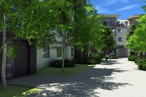 Auf der Fläche entstanden 44 Wohnungen, vier Ladengeschäfte und mehrere Kellergaragen.