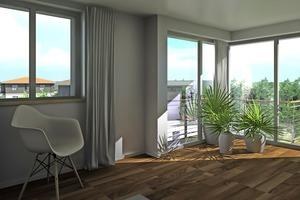 Die Fenster mit Dreifachverglasung wie auch die Terrassen und Balkone der Wohnungen ermöglichen einen idealen Lichteinfluss und lassen die Bewohner das Grün genießen.