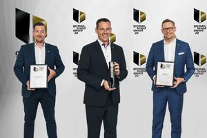 Marc-Sven Mengis, Vorsitzender der Geschäftsführung bei Fischer (Mitte) sowie Jens Zimmerlin, Abteilungsleiter Produktmanagement Chemie bei Fischer, und Volker Amann, Bereichsgeschäftsführer Internationales Marketing bei Fischer (v.l.n.r.), freuen sich über fünf Auszeichnungen beim German Brand Award.