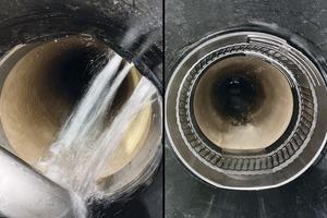 Durch undichte Rohrverbindungen kann es zum Eindringen von Grundwasser (Infiltration) in den schadhaften Kanal kommen (links). Das für Dimensionsbereiche bis DN 600 geeignete System Pipe-Seal-Flex passt sich formschlüssig an die verschiedenen Rohrwandungen an und stellt eine optimale und dauerhaft dichte Verbindung her (rechts).