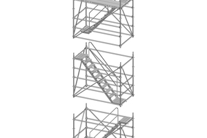 Allround Modultreppentürme lassen sich am Boden vormontieren und per Kran zusammensetzen. Dies sorgt für eine schnelle Montage und verhindert Absturzgefahren bei Auf- und Abbau.