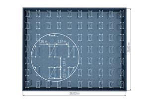 Im Vergleich zu anderen quadratischen Traggerüsttürmen können die Layher Allround-Traggerüsttürme TG 60 in derFeldlänge flexibel gestreckt werden. Bei einer Feldlänge von 2,07 m sind dann beispielsweise auf einer Fläche von 1.000 m² nur 70 anstelle von 100 Türmen erforderlich.