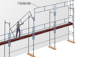 Systemlösung mit konstruktiv vorgesehener Montagefolge für das Blitz-Gerüst.