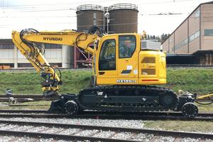 Der HX145 LCR ist für den Straßen-/Schieneneinsatz konzipiert. Er ist von 1.000 auf 1.435 Millimeter innerhalb von zwei Stunden umspurbar.