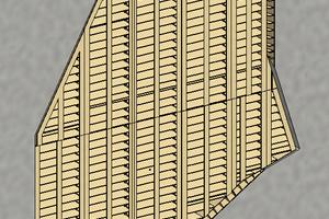 Im 3D-Modell wurden die Holzelemente für die Schalung der komplexen Wehrpfeilergeometrie dargestellt.
