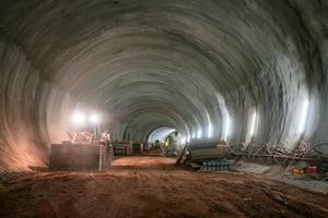 Für den Tunnelbau kommen Dyckerhoff Transportbetone der Druckfestigkeitsklassen C 25/30 bis C 35/45 zum Einsatz.