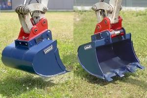 Rechts im Bild: Ein Loslösen des Anbaugerätes vom Schnellwechsler ist nicht möglich. Die Double-Lock-Verriegelung umschließt die Aufnahmewelle.<br />