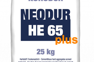 Der Hartstoffestrich Neodur HE 65 plus basiert auf dem bereits seit Jahrzehnten eingesetzten HE 65 und ist mit einer speziellen Polymer-Beimischung versehen, um die Frost- und Tausalzbeständigkeit nochmals zu erhöhen.<br />