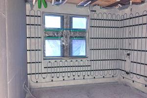 Eine Herausforderung war die Installation der Wandheizungen, die komplett in TRI-O-THERM M eingebettet wurden.