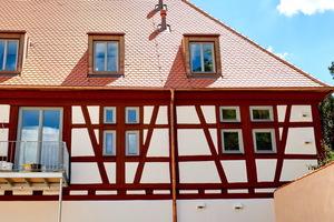 Außenansicht des Fachwerks im renovierten Sixenstadel.