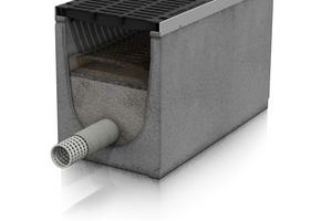 Drainfix Clean Filterrinne mit Drainagerohr und Filtersubstrat Carbotec 60 für Oberflächenfiltration.