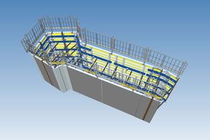 3D-Schalungsmodell der ersten Etappe im Untergeschoss. Die Planung erfolgt mit Autodesk Revit.