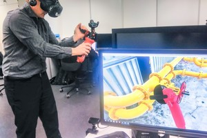 Praxisnahe Arbeitssicherheitsschulung: Im Projekt DigiRAB neu entwickelte VR- und AR-Simulationen veranschaulichen wirklichkeitsnah Risiken und Gefahren.