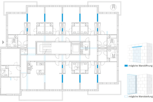 Der durchdachte Grundriss des KS-Wohnraummodells ermöglicht eine Vielzahl von möglichen Nutzungen und Wohnungsgrößen.