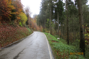 Bild 1: Die Fahrbahn ist auf einer Seite durch Fels begrenzt, auf der anderen durch eine abfallende Böschung.
