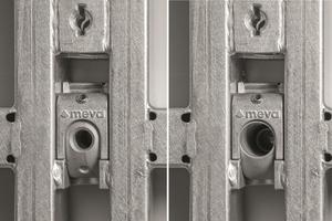 Mit einem Dreh lässt sich die Kombi-Ankerstelle von Gewinde (links) auf Durchgang (rechts) drehen, und ermöglicht so drei unterschiedliche Ankerungsarten ohne zusätzliche oder verlierbare Bauteile.