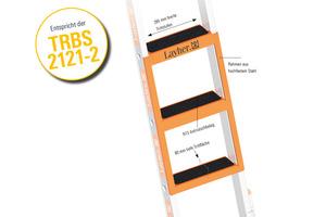 Um der TRBS 2121-2 zu entsprechen, lassen sich mit dem Stufeneinhängetritt für Sprossenleitern drei Stufen auf einmal nachrüsten.