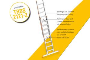 Die Stufenschiebeleiter Topic 1032 entspricht der TRBS 2121-2 und bietet einen komfortablen Stand sowie trittsicheren Auf- und Abstieg.