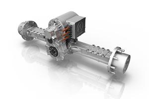 Das Kernstück des neuen eTRAC Antriebssystems für kompakte Baumaschinen: Der elektrische Zentralantrieb eCD20, im Direktanbau an ein zweistufiges Getriebe über der Hinterachse.