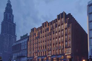 Rendering des fertigen Hotels am Grote Markt in Groningen.