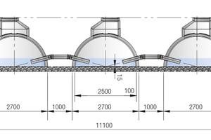 Sickeranlage Nord mit drei Rigolensträngen, deren Stauvolumen gleichmäßig und optimal genutzt wird durch aufgesteckte Verbindungsleitungen. Das Verbinden ist schnell erledigt, denn Rohrdurchführungen an den Elementen sind ab Werk schon vorhanden. Die Innenhöhe eines Tunnelelements beträgt 1,25 m.