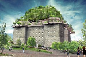 Nach der Fertigstellung wird der Bunker um fünf pyramidenartige Etagen und einem üppig begrünten Dachgarten aufgestockt sein.