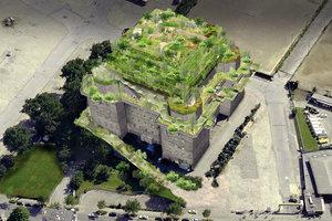Eine begrünte Rampe führt zukünftig in die 8.000 Quadratmeter große, öffentliche Grün- und Gemeinschaftsfläche.