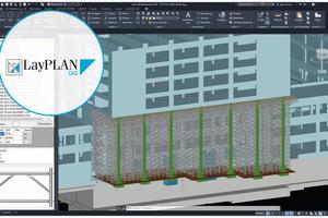 Die 3D-Planung des Traggerüsts wurde detailliert mit LayPlan CAD direkt im vorhandenen 3D-Gebäudemodell durchgeführt.