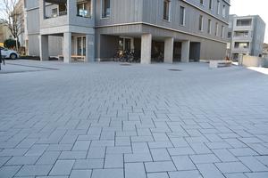 Vergleich von Holzbau und Massivbau – davor die neu angelegte Fläche aus VS 5 Steinen aus dem Hause braun-steine.