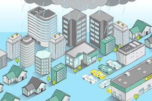 Lokale Starkregen-ereignisse haben oft verheerende Folgen: Straßen sowie Parkplätze werden überflutet, und große Wassermengen dringen in Wohn- und Industriegebäude ein.