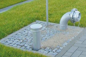 Unterirdischer Löschwasser-behälter. Zubehör wie diese Löschwasserentnahmestelle gemäß DIN 14230 ist Bestandteil der Lieferung.