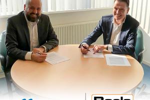 Unterzeichneten die Vereinbarung zur Mietkooperation: Guido Elzenaar (l.), Geomatik-Vertriebsleiter bei Topcon Positioning Netherlands, und Robbert Willemsen (r.), Geschäftsbereichsleiter bei Boels Survey &amp; Laser.<br />