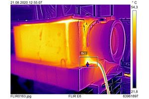 Bei den Untersuchungen wurde das Fabekun-Rohr von außen aufgeheizt und die Temperaturentwicklung mit einer Wärmebildkamera beobachtet.