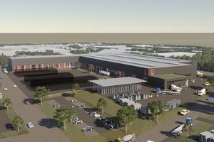 Ein neues Betonfertigteilwerk errichtet Brüninghoff bis 2023 am Standort in Heiden. Hier wird zukünftig auch Recyclingbeton in serieller Vorfertigung verarbeitet.