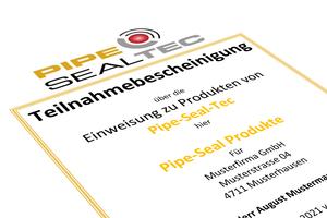 Alle wichtigen Kenntnisse zur Installation erhalten Anwender in den Produktschulungen von Pipe-Seal-Tec. Nach erfolgreicher Teilnahme wird eine personenbezogene Teilnahmebescheinigung als Kenntnisnachweis ausgestellt.