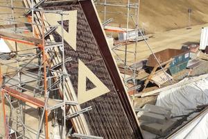 Das Relief wurde durch Auflegen der Formeinlagen auf das Wandschalungssystem Logo.3 erzielt.