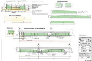 Die Widerlager und der komplette Überbau (grün hinterlegt) wurde in einem Takt betoniert, weshalb die sichere Ableitung der Querkraft nachzuweisen war.