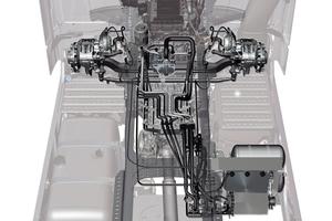 <strong>Die Bauteile des HAD: </strong><br />1 Radnabenmotor,<br />2 Seitenmodul mit 3 Kühler und Öltank, 4 Ventilsteuerblock, 5 Hydraulikpumpe,<br />6 Ausgleichsbehälter