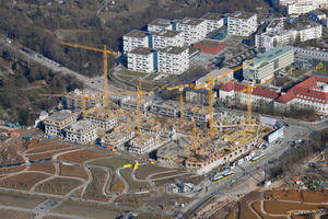 """<span class=""""bildunterschrift_hervorgehoben"""">Stadtquartier:</span> Ein Blick über die Megabaustelle Tink K am Stuttgarter Killesberg<br />"""