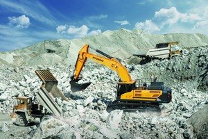 Mit dem 53 Tonnen schweren Kettenbagger HX520 L steht ein leistungsstarker Bagger für die Gewinnung zur Wahl.  (Bild: Hyundai Heavy Industries)