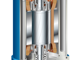 """""""Schnitt durch die LH4110w, die stärkste Pumpe ihrer Art im Sortiment des japanischen Baupumpenmarktführers mit Europa-Zentrale in Düsseldorf.<br /><br />"""