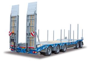 Der neue HTD 50, ein 5-Achs-Drehschemel-Tieflader, kann 40 t Lasten und Geräte aufnehmen.
