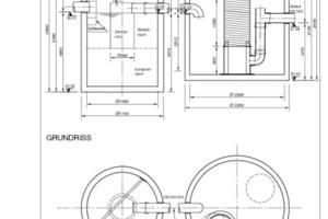 """links: Schnitt Sedimentationsanlage und Filterschacht, vorgeschaltet bei den beiden unterirdischen Speichern, in denen 54 m³ Vorrat zur Regenwassernutzung mit 96 m³ Löschwasservorrat kombiniert sind<br />rechts: Schnitt durch einen der beiden Löschwasserspeicher mit 96 m³, ohne Kombination mit Regenwassernutzung<span class=""""bildunterschrift_hervorgehoben"""">Abbildungen: Mall</span><br />"""